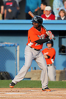 Norfolk Tides outfielder Xavier Avery #2 at bat during a game against the Empire State Yankees in the first ever Triple-A contest to be held at Dwyer Stadium on April 20, 2012 in Batavia, New York.  (Mike Janes/Four Seam Images)