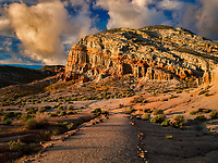 Rock Formations and path . Red Rock Canyon State Park, California