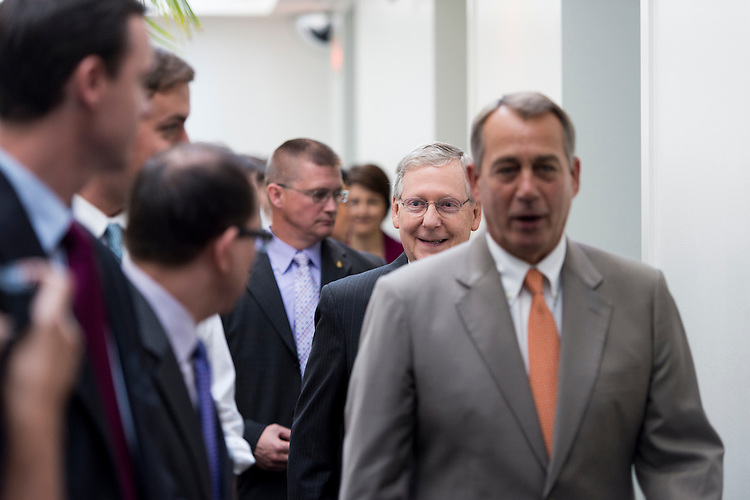 UNITED STATES - JUNE 6: Senate Minority Leader Mitch McConnell, R-Ky., arrives with Speaker of the House John Boehner, R-Ohio, for the media availability in the Capitol with House Republican leaders immediately after the House Republican Conference meeting on Wednesday morning, June 6, 2012. (Photo By Bill Clark/CQ Roll Call)