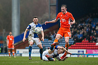 Blackpool's Sean Longstaff vies for possession with Blackburn Rovers' Richard Smallwood<br /> <br /> Photographer Andrew Kearns/CameraSport<br /> <br /> The EFL Sky Bet League One - Blackburn Rovers v Blackpool - Saturday 10th March 2018 - Ewood Park - Blackburn<br /> <br /> World Copyright &copy; 2018 CameraSport. All rights reserved. 43 Linden Ave. Countesthorpe. Leicester. England. LE8 5PG - Tel: +44 (0) 116 277 4147 - admin@camerasport.com - www.camerasport.com