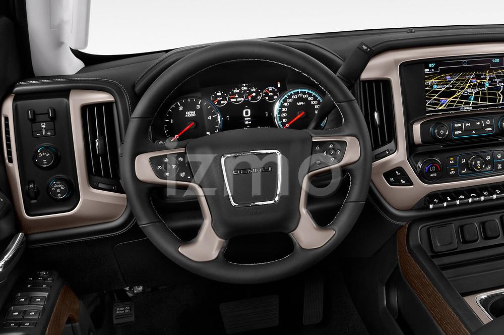 Car pictures of steering wheel view of a 2019 GMC Sierra-2500 Denali 4 Door Pick-up Steering Wheel