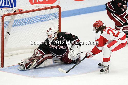 Laura Bellamy (Harvard - 1), Isabel Menard (BU - 20) - The Boston University Terriers defeated the visiting Harvard University Crimson 2-1 on Sunday, November 18, 2012, at Walter Brown Arena in Boston, Massachusetts.