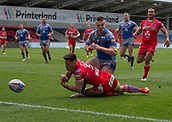 June 4th 2017, AJ Bell Stadium, Salford, Greater Manchester, England;  Rugby Super League Salford Red Devils versus Wakefield Trinity; Niall Evalds of Salford and Max Jowitt of Wakefield Trinity clash near the try line