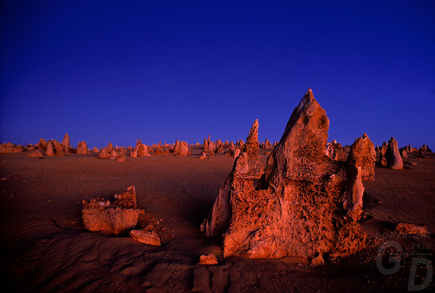 Twilight/afterglow after sunset in the  Pinnacle desert Western Australia