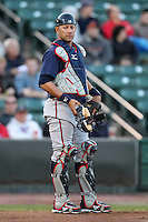 Gwinnett Braves catcher J.C. Boscan #15 in the field during a game against the Rochester Red Wings at Frontier Field on May 5, 2011 in Rochester, New York.  Rochester defeated Gwinnett by the score of 3-2.  Photo By Mike Janes/Four Seam Images