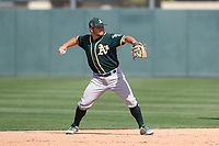 Oakland Athletics second baseman Nate Mondou (8) during a Minor League Spring Training game against the San Francisco Giants at Lew Wolff Training Complex on March 26, 2018 in Mesa, Arizona. (Zachary Lucy/Four Seam Images)