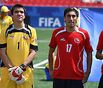 22 July 2007: Chile's Cristopher Toselli (1) and Hans Martinez (17). At the National Soccer Stadium, also known as BMO Field, in Toronto, Ontario, Canada. Chile's Under-20 Men's National Team defeated Austria's Under-20 Men's National Team 1-0 in the third place match of the FIFA U-20 World Cup Canada 2007 tournament.