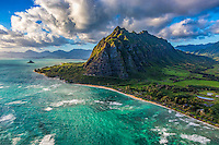 A beautiful morning view during a helicopter tour of Ka'a'awa Valley, with Chinaman's Hat on the left, Windward O'ahu.