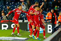 29th December 2019; The Hawthorns, West Bromwich, West Midlands, England; English Championship Football, West Bromwich Albion versus Middlesbrough; Middlesbrough players celebrate their second goal after 94 minutes (0-2) - Strictly Editorial Use Only. No use with unauthorized audio, video, data, fixture lists, club/league logos or 'live' services. Online in-match use limited to 120 images, no video emulation. No use in betting, games or single club/league/player publications