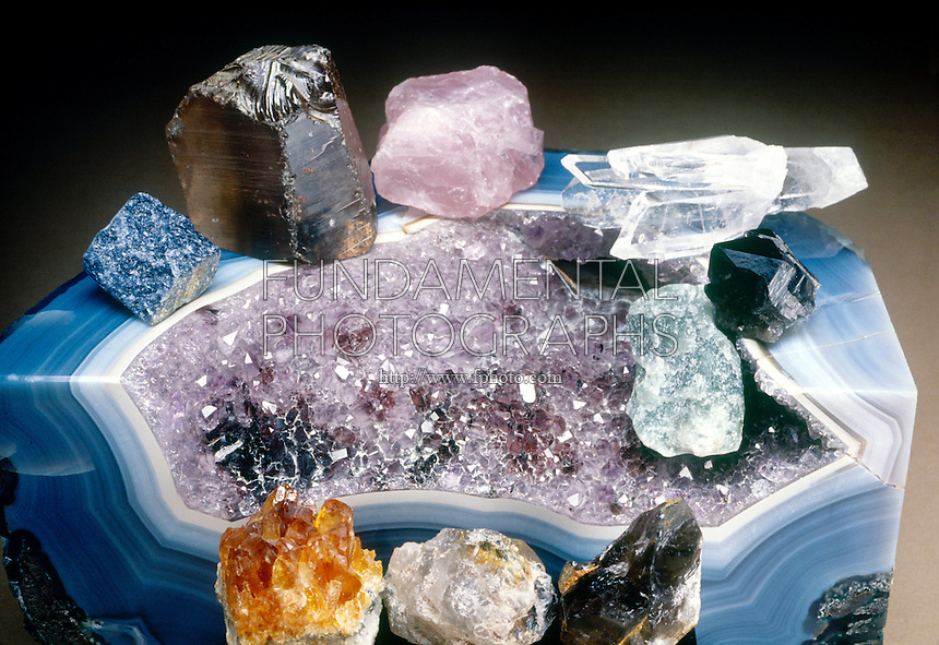 QUARTZ COLOR VARIETIES<br /> Including Amethyst<br /> Assortment of mineral crystals including Smoky Quartz, Rose Quartz, Rock Crystal Quartz, Onyx and Citrine