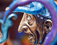 A sculpture of a jester at Jazzfest in New Orleans, Louisiana.