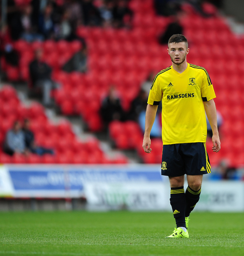 Middlesbrough's Bradley Fewster<br /> <br /> Photographer Chris Vaughan/CameraSport<br /> <br /> Football - Pre-Season Friendly - Doncaster Rovers v Middlesbrough - Saturday 25th July 2015 - Keepmoat Stadium, Doncaster<br /> <br /> &copy; CameraSport - 43 Linden Ave. Countesthorpe. Leicester. England. LE8 5PG - Tel: +44 (0) 116 277 4147 - admin@camerasport.com - www.camerasport.com
