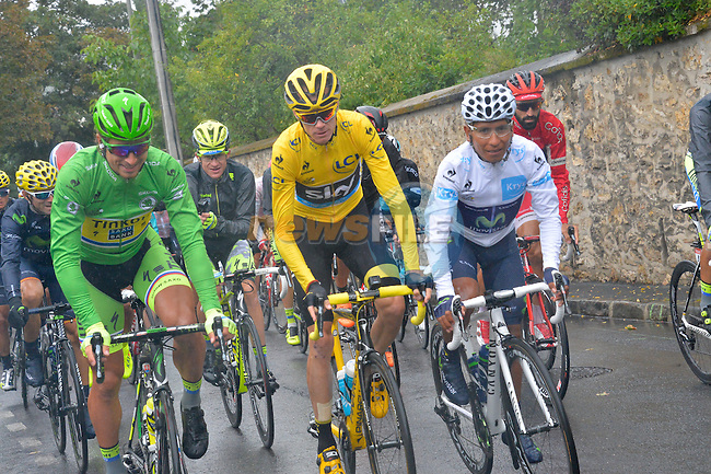 The 3 Jerseys Peter SAGAN (SVK) Tinkoff-Saxo, Christopher FROOME (GBR) Team Sky and Nairo QUINTANA (COL) Movistar at the start of Stage 21 of the 2015 Tour de France running 109.5km from Sevres to Paris - Champs Elysees, France. 26th July 2015.<br /> Photo: ASO/B.Bade/Newsfile