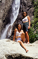 Yosemite Fals with 2 girls in Yosemite National Park, California, USA