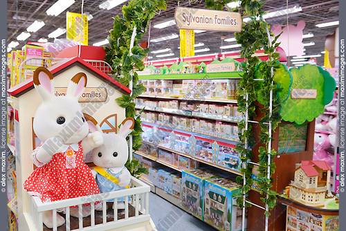 Sylvanian Families cute collectible toys on a store display in Tokyo, Japan.