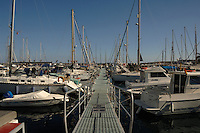 Pontoon, Puerto Mogan harbour, Gran Canaria, Canary Islands, Spain.