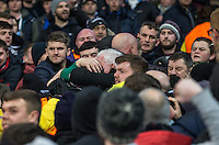 A Fight breaks out between supporters during the UEFA Champions League GROUP match between Manchester City and Celtic at the Etihad Stadium, Manchester, England on 6 December 2016. Photo by Andy Rowland.