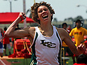 La Costa Canyon's Darren Fahy celebrates as he finishes first in the 1600 meter race in 2012. photo for North County Times