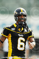 September 11, 2010; Hamilton, ON, CAN; Hamilton Tiger-Cats wide receiver Marquay McDaniel (6). CFL football: Montreal Alouettes vs. Hamilton Tiger-Cats at Ivor Wynne Stadium. The Alouettes defeated the Tiger-Cats 27-6. Mandatory Credit: Ron Scheffler. Copyright (c) 2010 Ron Scheffler.