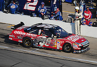 Sept. 28, 2008; Kansas City, KS, USA; Nascar Sprint Cup Series driver Carl Edwards pulls onto pit road after finishing second in the Camping World RV 400 at Kansas Speedway. Mandatory Credit: Mark J. Rebilas-