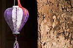 Silk Lantern 02 - Mauve silk lantern and old wall, Hoi An, Vietnam
