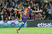 10.04.2012 Bacelona, Spain. La Liga. Picture show Alexis Sanchez after scoring during match between FC Barcelona against Getafe at Camp Nou