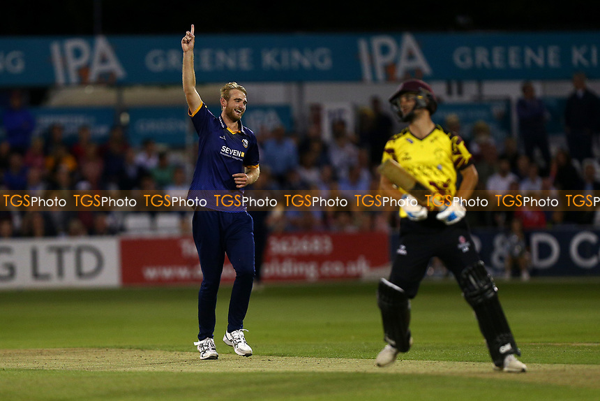 Paul Walter of Essex celebrates taking the wicket of Lewis Gregory during Essex Eagles vs Somerset, NatWest T20 Blast Cricket at The Cloudfm County Ground on 13th July 2017