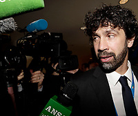 Damiano Tommasi, uno dei tre candidati, parla con i giornalisti prima dell'Assemblea per l'elezione del nuovo Presidente della Federazione Italiana Giuoco Calcio (FIGC) Roma, 29 gennaio 2018.<br /> Damiano Tommasi, one of the candidates, speaks to journalists as he arrives at an election for the Italian Football Federation (FIGC) presidency in Rome, Italy, January 29, 2018. <br /> UPDATE IMAGES PRESS/Isabella Bonotto