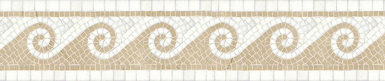 "8 1/2"" Viesta border, a hand-cut mosaic shown in polished Thassos and Rosa Portagallo by New Ravenna."