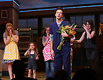 Betsy Wolfe, Victoria Collett, Caitlin Houlahan, Sara Bareilles and Jason Mraz take a bow at the curtain call of Broadway's 'Waitress' at The Brooks Atkinson Theatre on November 3, 2017 in New York City.