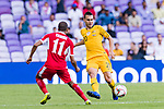 Trent Sainsbury of Australia (R) is tackled by Yaseen Mahmoud Bakheet of Jordan during the AFC Asian Cup UAE 2019 Group B match between Australia (AUS) and Jordan (JOR) at Hazza Bin Zayed Stadium on 06 January 2019 in Al Ain, United Arab Emirates. Photo by Marcio Rodrigo Machado / Power Sport Images