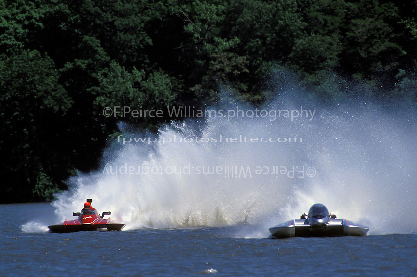 """GNH-74 """"Sgt. Shasta"""" and Dave Bender, GNH-38 """"Pay N' Play""""Decatur, IL 1993 (7 Litre Division II / Grand National Hydroplane)"""