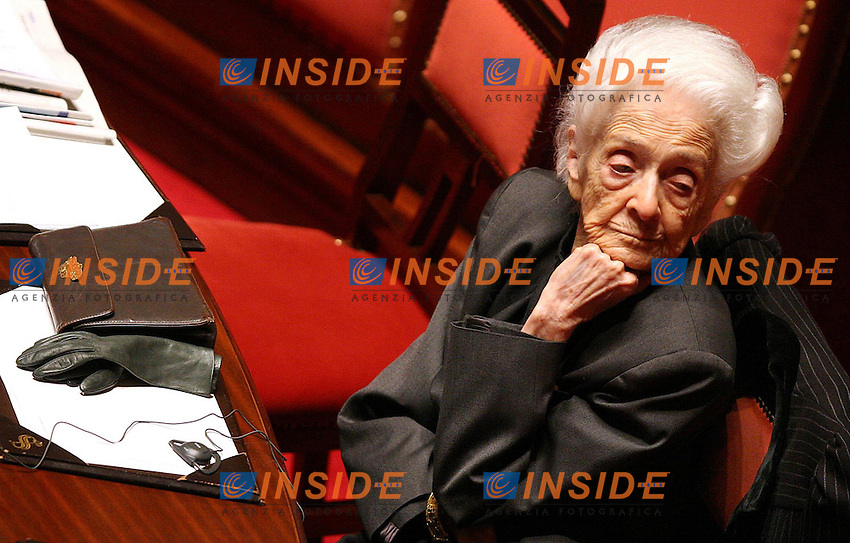 Roma, 30/03/2007 Seduta in senato. Voto di fiducia sulle Liberalizzazioni. Nella foto Rita Levi Montalcini..Photo Samantha Zucchi Inside