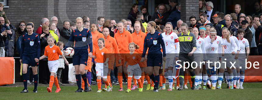 20150404 - MEERSSEN , Netherlands :<br /> <br /> teams of the Netherlands and Czech Republic entering the pitch<br /> , pictured during the female soccer match between Women Under 19 teams of Netherlands and Czech Republic , on the first matchday  in Group 6 of the UEFA Elite Round Women Under 19 at the Sportpark Marsana Stadium , Meerssen , Netherlands<br /> <br /> Thursday 31 march 2015<br /> foto Dirk Vuylsteke / David CATRY