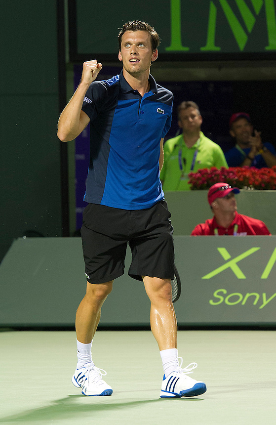 Tobias Kamke (GER) celebrates his victory over Juan Martin Del Potro (ARG) in their ATP Second Round Mens Singles match today - Tobias Kamke (GER) d. [5] Juan Martin Del Potro (ARG) 76(5) 61(Photos by Andrew Patron)..Tennis - Sony Open Tennis - ATP World Tour Masters 1000 - Tennis Center at Crandon Park Key Biscayne, Miami, Florida USA - Day 5 - Friday 22nd March 2013..© CameraSport - 43 Linden Ave. Countesthorpe. Leicester. England. LE8 5PG - Tel: +44 (0) 116 277 4147 - admin@camerasport.com - www.camerasport.com