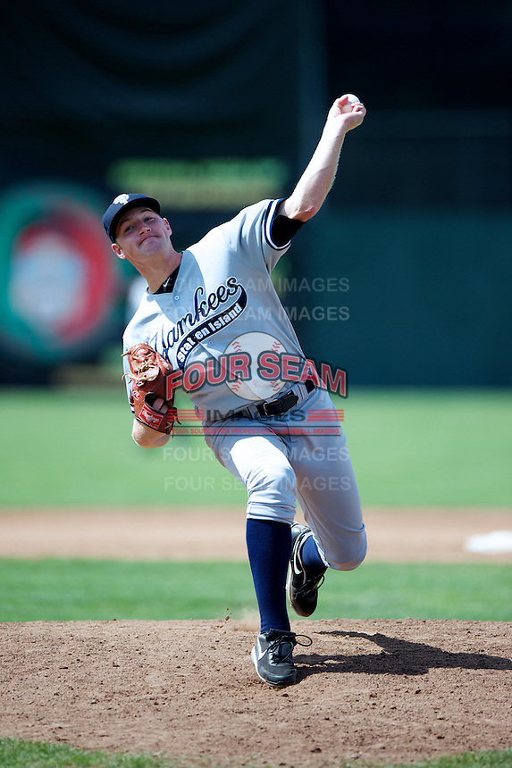 Staten Island Yankees Dietrich Enns #21 during a game against the Batavia Muckdogs at Dwyer Stadium on July 29, 2012 in Batavia, New York.  Batavia defeated Staten Island 10-2.  (Mike Janes/Four Seam Images)