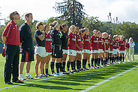 STANFORD, CA - August 31, 2012: The team during the anthem before the Stanford vs Boston College women's soccer match in Stanford, California. Stanford tied 1-1.