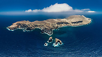 aerial view of San Benedicto Island and Barcena crater, Revillagigedos Islands, Mexico, Pacific Ocean