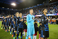 San Jose, CA - Friday April 14, 2017: San Jose Earthquakes Starting Eleven, Nick Lima, David Bingham, Chris Wondolowski  during a Major League Soccer (MLS) match between the San Jose Earthquakes and FC Dallas at Avaya Stadium.