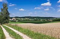 Germany, Lower Bavaria, hop-planting area Hallertau (Holledau), village Meilenhofen north of Mainburg | Deutschland, Bayern, Niederbayern, Hopfenanbaugebiet Hallertau (Holledau), Dorf Meilenhofen noerdlich von Mainburg