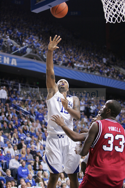 UK freshman forward DeMarcus Cousins reaches for the offensive rebound against the University of Arkansas at Rupp Arena on Saturday. Photo by Scott Hannigan | Staff