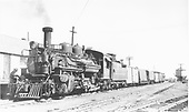 The D&amp;RGW &quot;Chili Line&quot; train has arrived at Antonito from Santa Fe.  Today's consist includes two automobile carriers.<br /> D&amp;RGW  Antonito, CO  Taken by Jackson, Richard B. - 7/23/1940