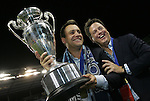 08 August 2012: KC owners Robb Heineman (left) and Greg Maday (right) with the trophy. Sporting Kansas City won the championship over Seattle Sounders FC 3-2 on penalties after the game ended in a 1-1 tie at Livestrong Sporting Park in Kansas City, Kansas in the 2012 Lamar Hunt U.S. Open Cup Final.