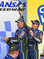 Sept. 28, 2008; Kansas City, KS, USA; Nascar Sprint Cup Series driver Jimmie Johnson (right) celebrates with crew chief Chad Knaus after winning the Camping World RV 400 at Kansas Speedway. Mandatory Credit: Mark J. Rebilas-