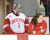 Ashley Leichliter (BU - 1), Melissa David - The Boston University Terriers defeated the Providence College Friars 5-3 on Saturday, November 14, 2009, at Agganis Arena in Boston, Massachusetts.