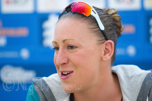 23 AUG 2013 - STOCKHOLM, SWE - Jodie Stimpson (GBR) of Great Britain answers questions at her first ITU World Triathlon Series race media conference, in Stockholm, Sweden (PHOTO COPYRIGHT © 2013 NIGEL FARROW, ALL RIGHTS RESERVED)