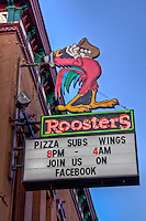 Roosters on Garrison Avenue in historic downtown Fort Smith Arkansas.