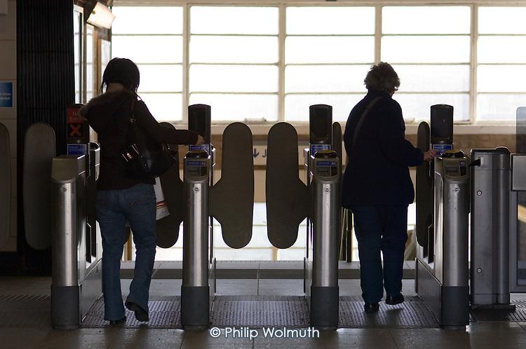 Ticket barrier at West Hampstead underground station.