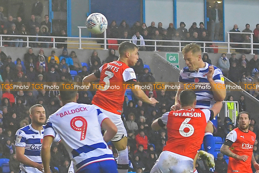 Michael Morrison of Reading right heads the first goal during Reading vs Luton Town, Sky Bet EFL Championship Football at the Madejski Stadium on 9th November 2019