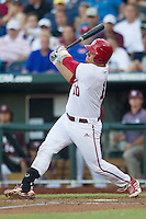 Indiana Hoosiers catcher Kyle Schwarber (10) follows through on his swing against the Mississippi State Bulldogs during Game 6 of the 2013 Men's College World Series on June 17, 2013 at TD Ameritrade Park in Omaha, Nebraska. The Bulldogs defeated Hoosiers 5-4. (Andrew Woolley/Four Seam Images)